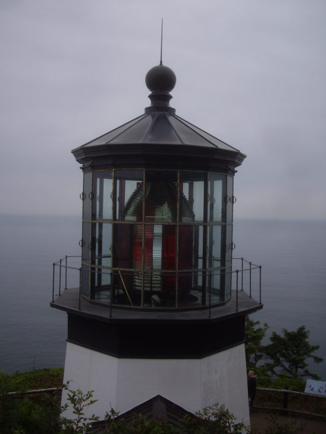The light on top of the Cape Meares Lighthouse
