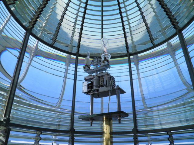 Light inside a Fresnel lens inside the Yaquina Head Lighthouse