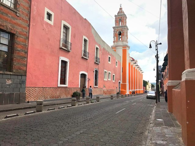 Church on the streets of Puebla Center