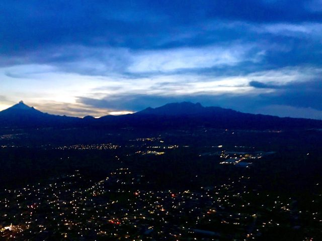 Sunset over the volcanoes of Puebla