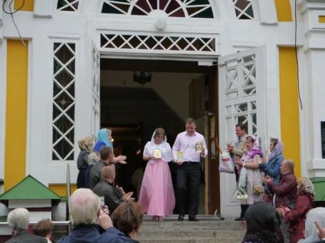 orthodox wedding (?) at Zhenkov cathedral in Panfilov park