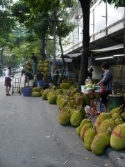 I think these are harmless jackfruit rather than horrifying 'so stinky they're banned on public transport' durian!