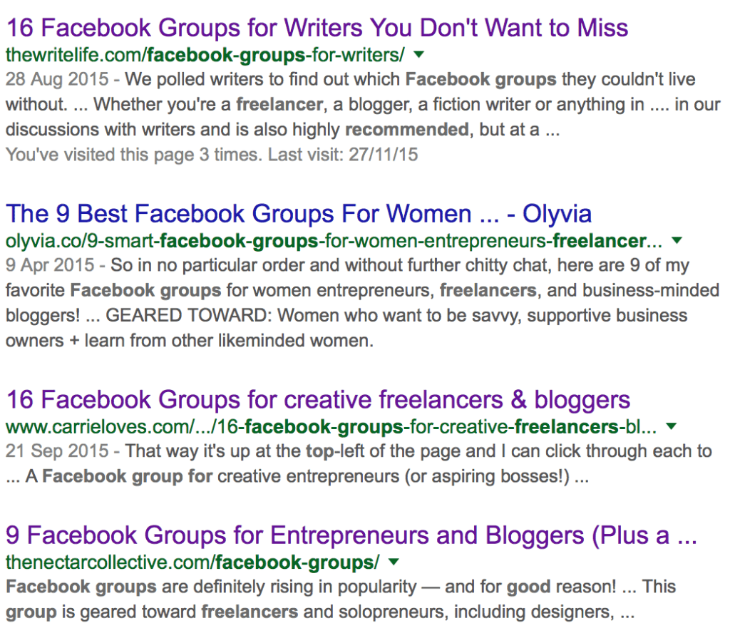 Facebook groups for freelancers