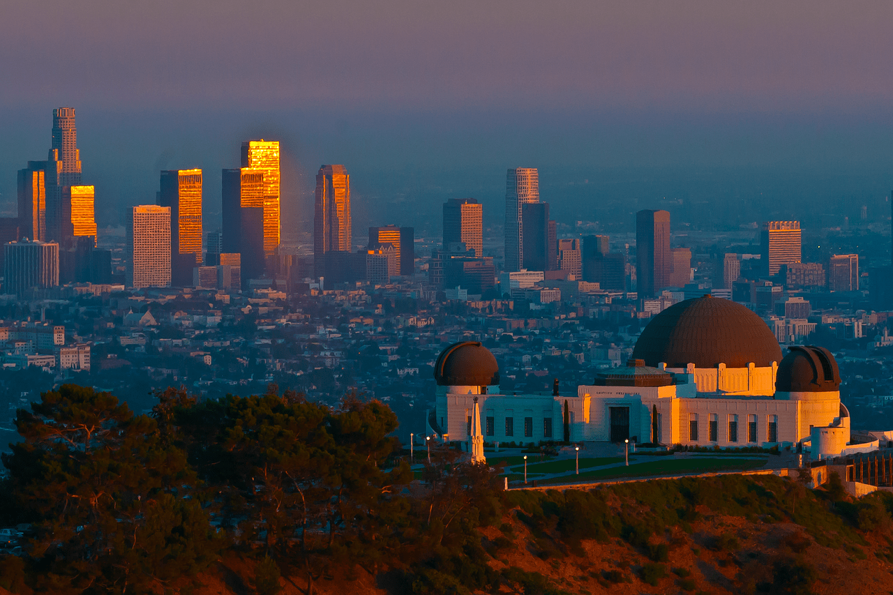 griffith observatory, los angeles, sunset