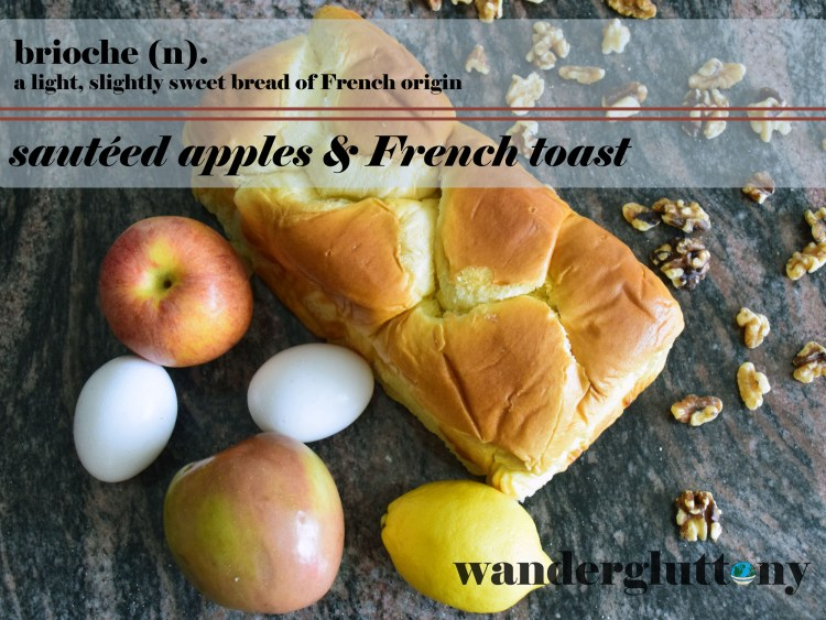 Ingredients laid out for apple French toast