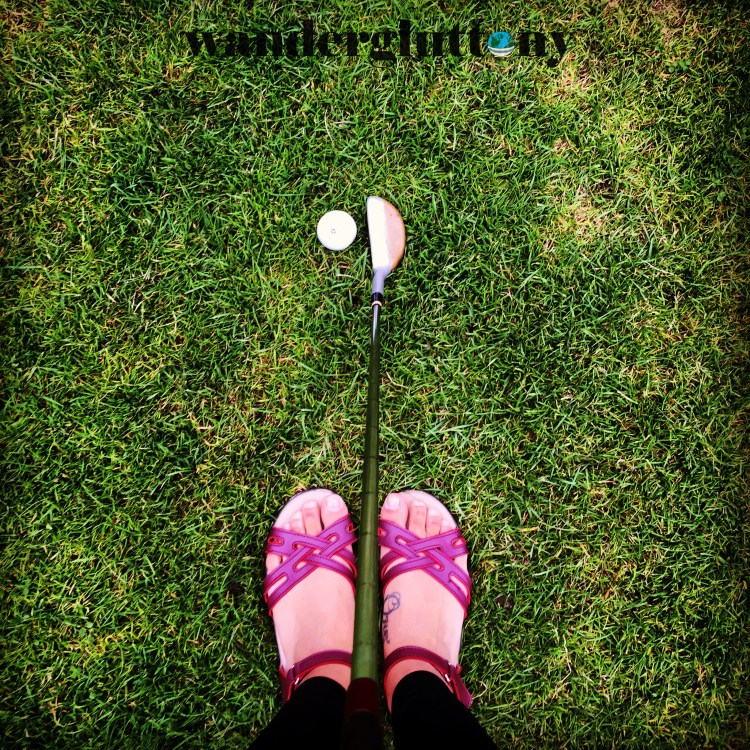 Choose shoes with versatility. These sandals easily converted to golfing shoes for my iconic Scottish moment. Don't worry so much about always having the right shoe for each occasion when traveling. You'll make it work I assure you! Having a few comfortable choices will benefit you much more than matching your shoes perfectly to your outfit. When you're not lugging around 4 pairs of heels you never wear, you'll thank me! #travel #wanderlust #wandergluttony
