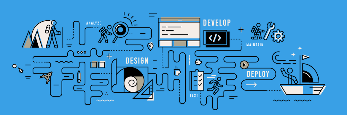 The about cover image, by Javier Feliu, represents the full-stack web developer journey: analyze, design, develop, test, deploy, and maintain.