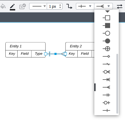 LucidChart user interface for representing the cardinalities in the diagram