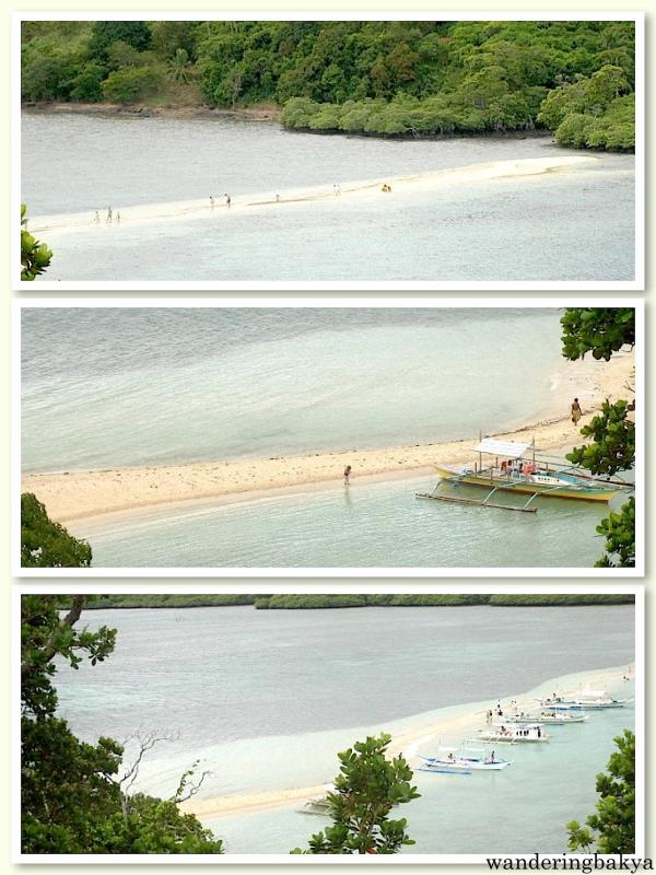 seemingly unending sandbar as viewed from the top of one of the islands of El Nido