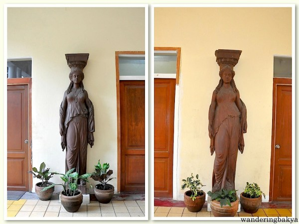 Caryatids found in the social hall beside the pool. The Greek goddesses are actually supporting columns. Their male counterparts did not make it to the relocated house.