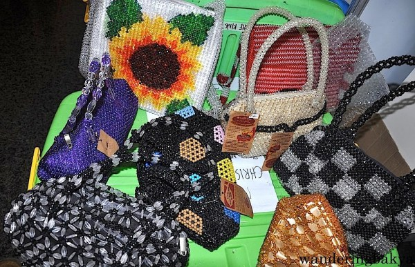 Beaded bags made by the urban poor partners of Caritas Manila through its Livelihood Program. These bags augment the income of underprivileged families. Each bag costs around P1200 (US $26.79)