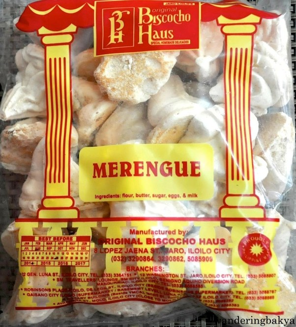 Merengue. Its ingredients include flour, butter, sugar, eggs and milk. Merengue is very sweet, and most people can eat only a couple before giving up. I know someone who can eat the contents of an entire bag of merengue in 15 minutes. Not me.
