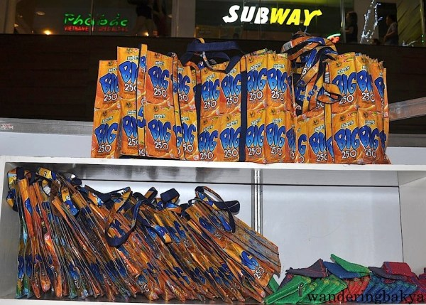 Bags made of recycled juice containers. Each bag costs P130.00 (US $2.90)