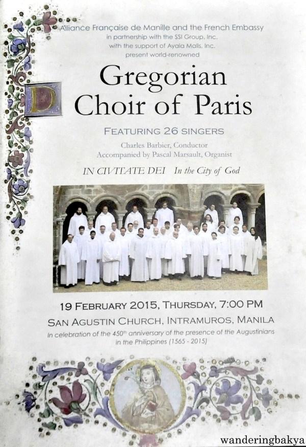 Gregorian Choir of Paris Program