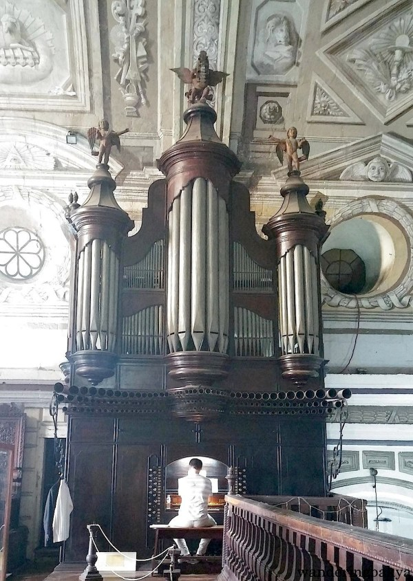 Pascal Marsault playing the 18th century Spanish baroque organ in San Agustin Church. The organ is the oldest existing organ in the Philippines. Its sound is jaw-dropping from 5 meters away. This photo was taken during rehearsal.