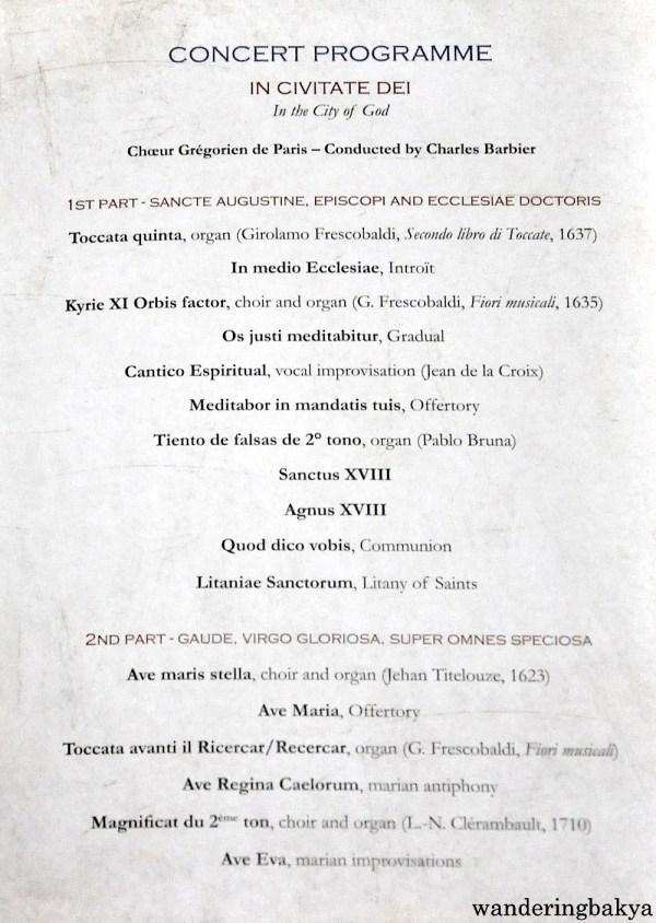Concert Programme, Gregorian Choir of Paris