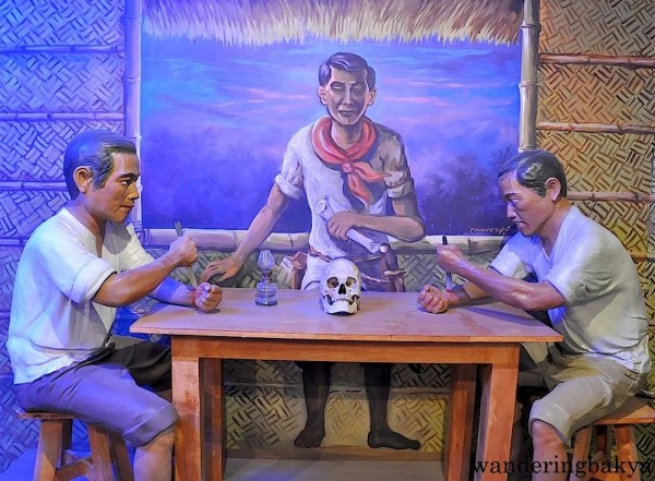 Sanduguan or pacto de sangre or blood compact is the last step in the initation of katipuneros. The skull and bolo on a table were constant presence in the room where initiation occurred.