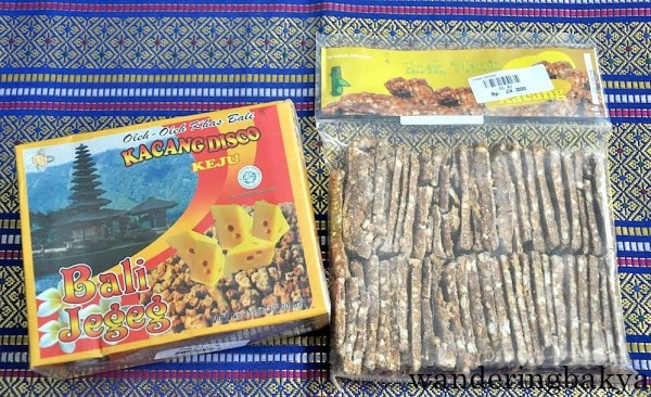 Disco Kacang (200 grams), IDR 15,000 (US $1.15) and Tingting Kacang, IDR 24,000 (US $1.85) both from Agung Bali