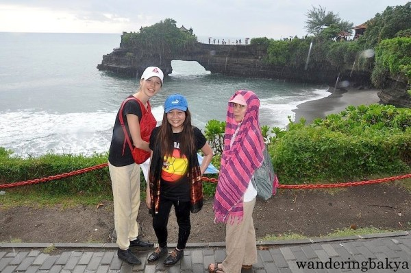Virg, Kira and I from the other side of Tanah Lot Temple. Pura Batu Bolong is in the background