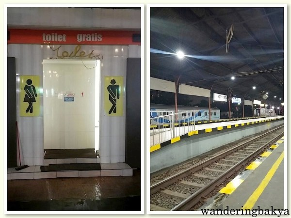 Tugu Train Station. The train station was clean (compared to the ones I am used to), with a large sitting  area and funny images on their toilet doors.