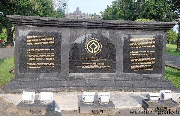This UNESCO World Heritage Site marker welcomes the visitors at Borobudur.