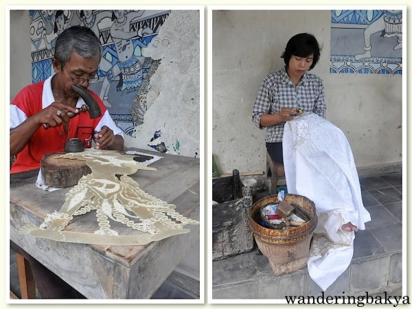 Both of them are found near the West entrance of Taman Sari. The man is making a puppet while the woman is making batik.
