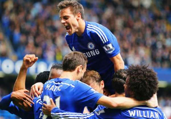 Chelsea players after the win over Crystal Palace. Photo from goal.com by Getty Images