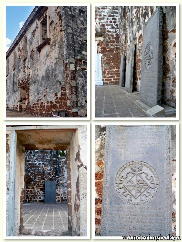 A Famosa Fort was built by the Portuguese in 1511. It was heavily damaged during the Dutch invasion of Melaka. On the photos are the walls, the interiors and some historical tablets.