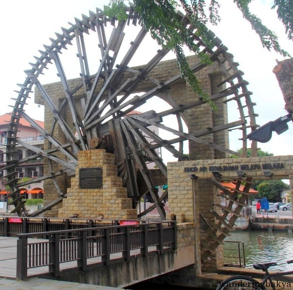 The other side of Melaka Malay Sultanate Water Wheel.