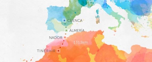 The map of Sergio and Juan Manuel's 1313-kilometer adventure. Photo from lasonrisaverdadera.org.