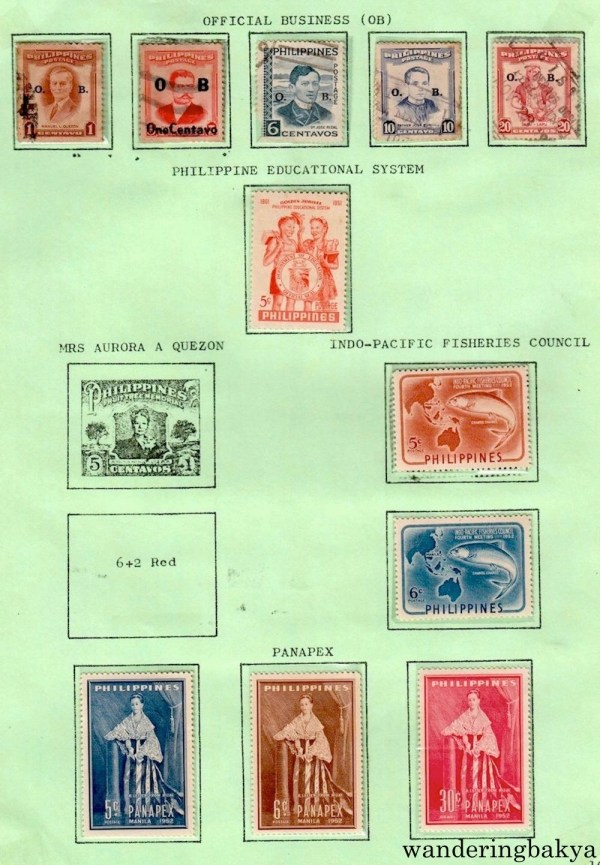 Philippine Stamps: Official Business, Philippine Education System, Indo-Pacific Fisheries Council, and Panapex.