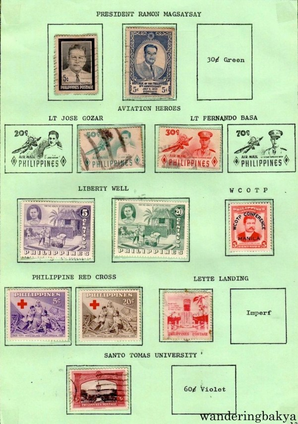 Philippine Stamps: President Ramon Magsaysay, Aviation Heroes (Lt. Jose Gozar, Lt. and Fernando Basa), Liberty Well, WCOTP, Philippine Red Cross, Leyte Landing, and Santo Tomas University.