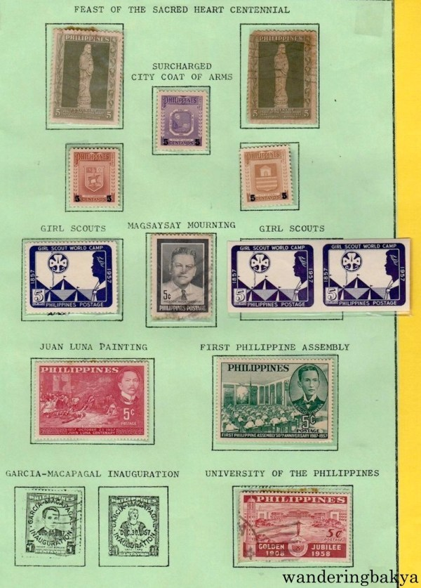 Philippine Stamps: Feast of Sacred Heart Centennial, Surcharged City Coat of Arms, Girl Scouts, Magsaysay Mourning, Juan Luna Painting, First Philippine Assembly, and University of the Philippines.