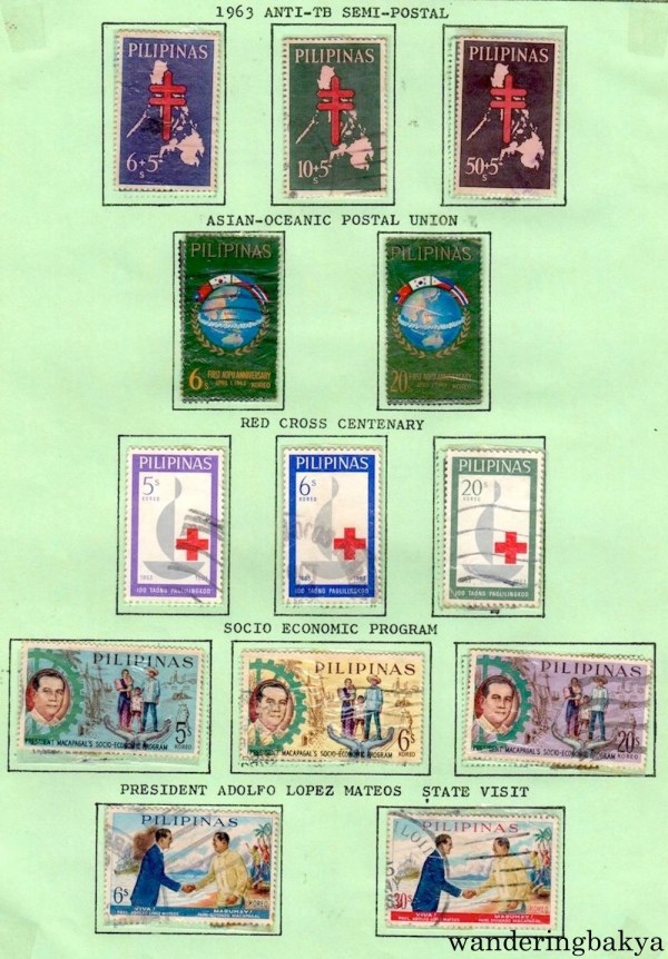 Philippine Stamps: 1963 Anti-TB Semi-Postal, Asian-Oceanic Postal Union, Red Cross Centenary, Socio-Economic Program, and President Adolfo Lopez Mateo State Visit.