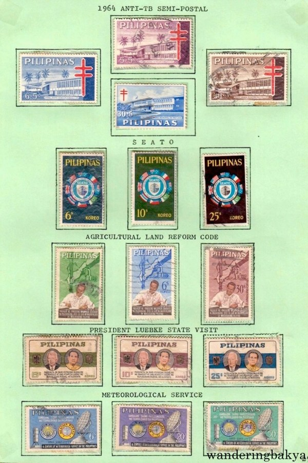 Philippine Stamps: 1964 Anti-TB Semi-Postal, SEATO, Agricultural Land Reform Code, President Luebke State Visit, and Meteorological Service.