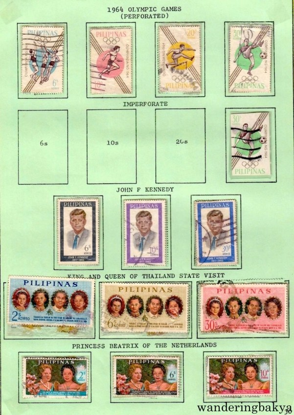 Philippine Stamps: 1964 Olympic Games (Perforated and Imperforate), John F. Kennedy, King and Queen of Thailand State Visit, and Princess Beatrix of Netherlands.