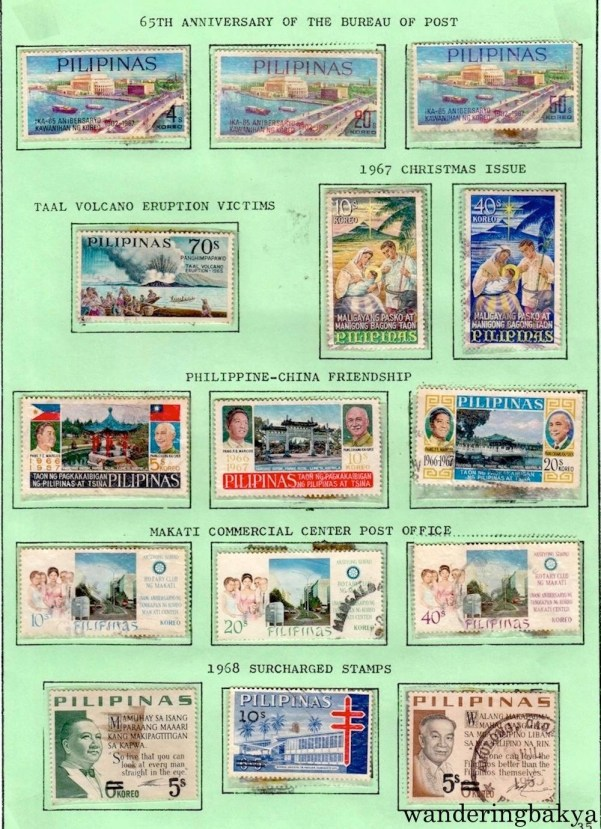 Philippine Stamps: 65th Anniversary of the Bureau of Post, Taal Volcano Eruption Victims, 1967 Christmas Issue, Philippine-China Friendship, Makati Commercial Center Post Office, and 1968 Surcharged Stamps.