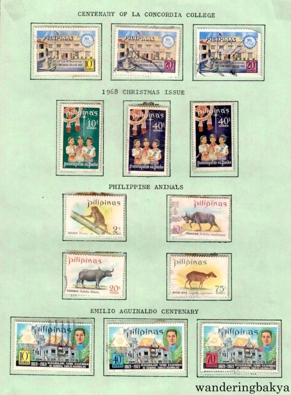 Philippine Stamps: Centenary of La Concordia College, 1968 Christmas Issue, Philippine Animals, and Emilio Aguinaldo Centenary.