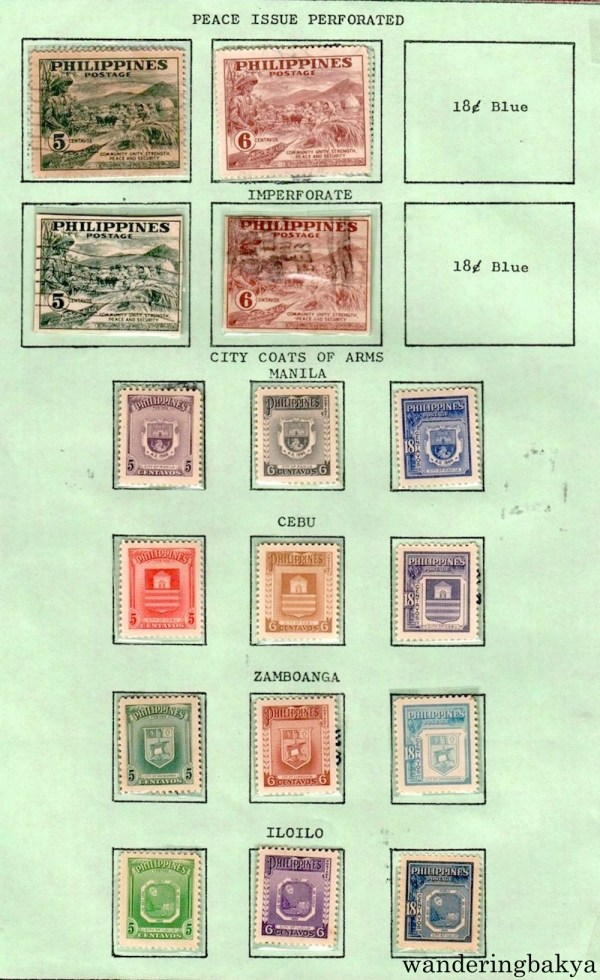 Philippine Stamps: Peace Issue Perforated and Imperforate, City Coats of Arms (Manila, Cebu, Zamboanga and Iloilo).