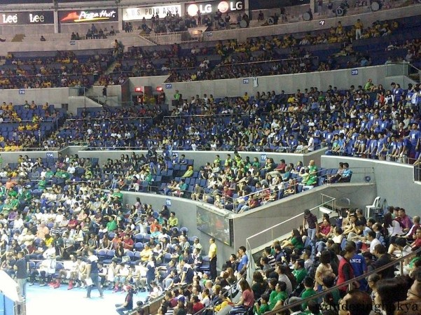 The Adamson crowd wearing its school color.