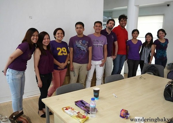 C1.6 with Jorge. We decided to wear something violet, our prof's favorite color. ;)