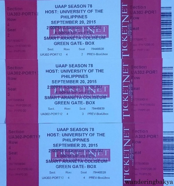Tickets for the DLSU vs Adamson and UP vs FEU games.