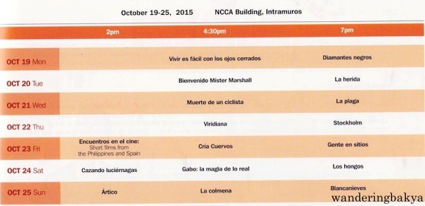 Schedule of Film Showing of the 2015 PELÍCULA Manila Spanish Film Festival at NCCA Building, 633 General Luna St., Intramuros from October 19 to 25, 2015.