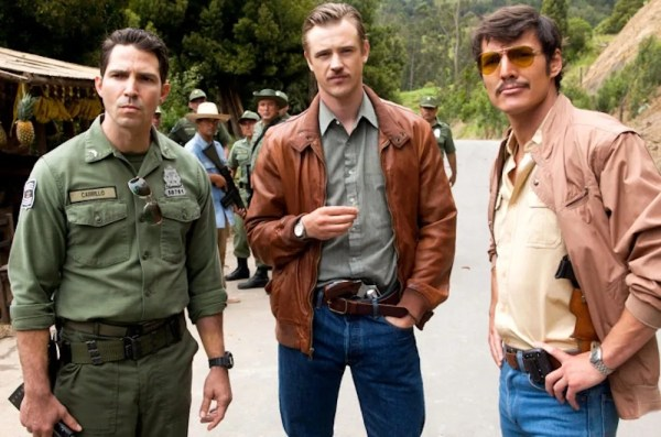 The good guys of Narcos. Good here is used loosely. Maurice Compte as Col. Horacio Carrillo, Holbrook as Murphy and Pascal as Peña, in one of their first interactions as a group. Photo from nypost.com.