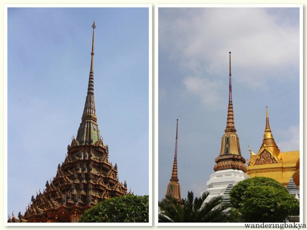 The top of the buildings and monuments found in The Grand Palace