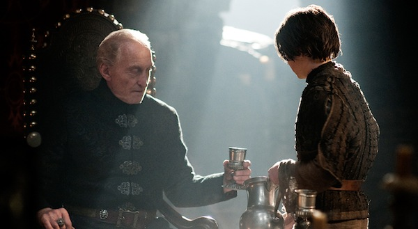 Game of Thrones' Tywin Lannister and Arya Stark. Photo from hbowatch.com