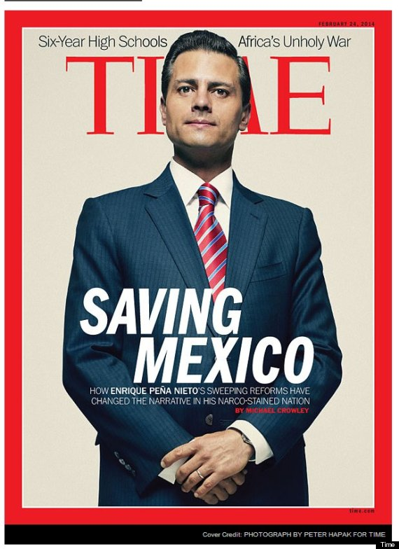 Mexican President Enrique Peña Nieto on the cover of TIME Magazine. Photo from huffingtonpost.com