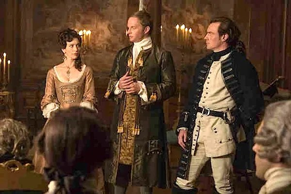 Black Sails' Miranda Barlow (Louise Barnes), Thomas Hamilton (Rupert Penry-Jones) and James McGraw/Captain James Flint (Toby Stephens). Photo from thewrap.com