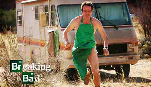 Breaking Bad's Walter White (Bryan Cranston) in his white underwear and green apron. Photo from collider.com