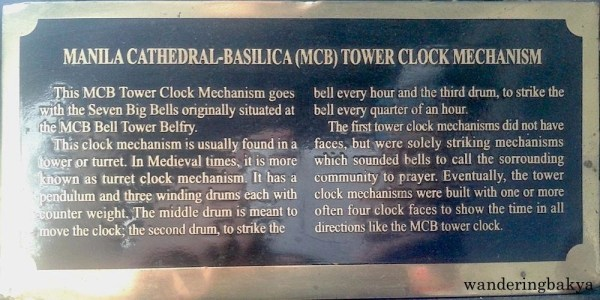 The marker of the Manila Cathedral-Basilica (MCB) Tower Clock Mechanism